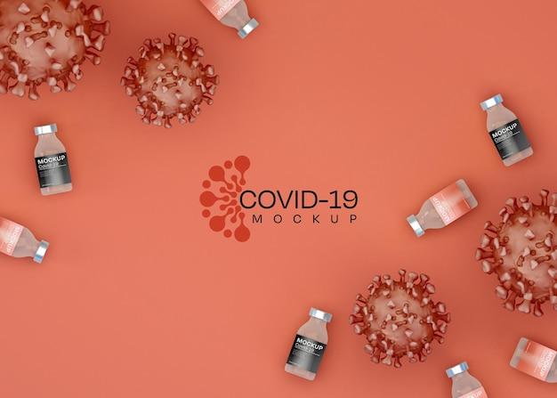 Koronawirus płasko leżał mockup. covid-19.