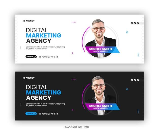 Korporacyjna agencja marketingu cyfrowego szablon okładki facebooka w mediach społecznościowych