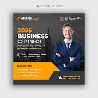 Korporacyjna konferencja biznesowa post w mediach społecznościowych i szablon projektu banera internetowego