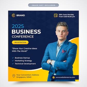 Korporacyjna konferencja biznesowa promocyjny baner instagram lub szablon postu w mediach społecznościowych