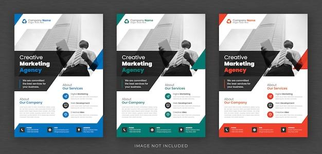 Korporacyjny projekt ulotki wielofunkcyjnej i szablon strony tytułowej broszury