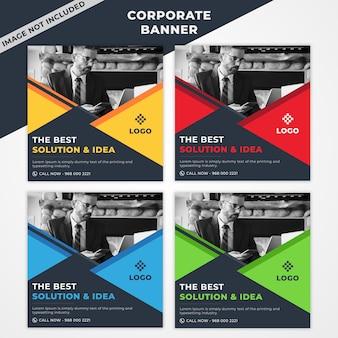 Korporacyjny zestaw bannerów z 4 kolorami