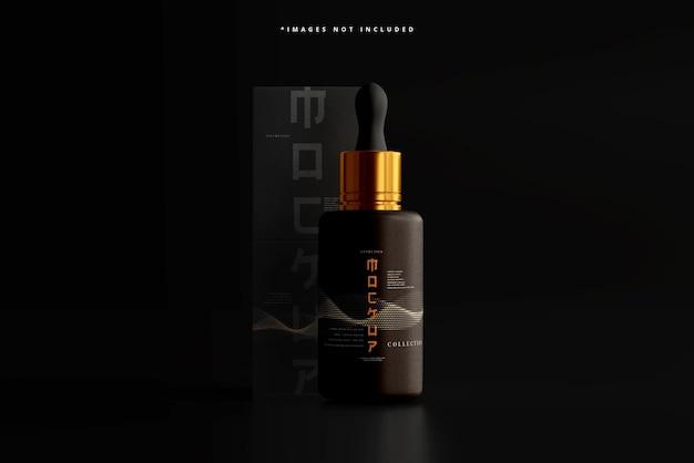 Kosmetyczna butelka i pudełko z zakraplaczem makieta