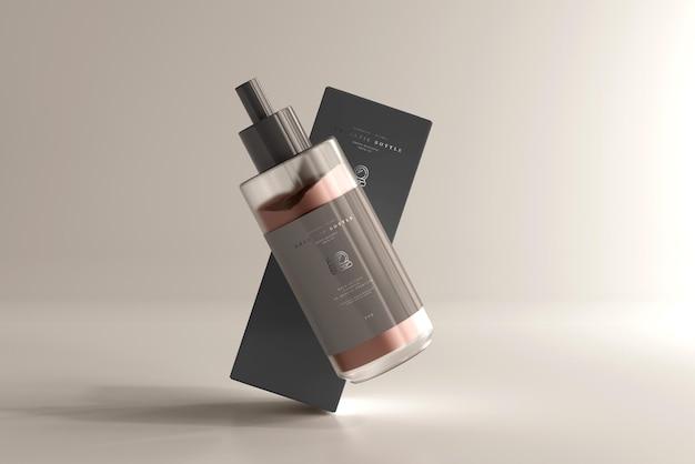 Kosmetyczna butelka kremu z makietą pudełka