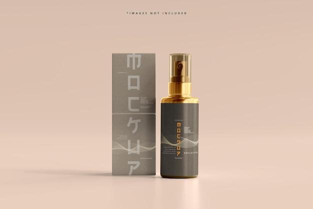 Kosmetyczna butelka z rozpylaczem i makieta pudełka