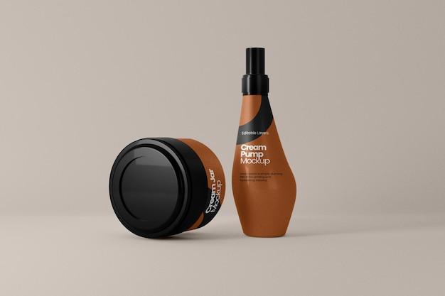 Kosmetyczny słoik na krem i makieta butelki z pompką widok z przodu