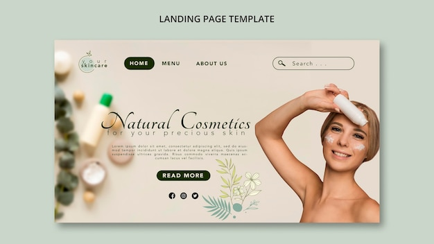 Kosmetyki naturalne szablon strony docelowej