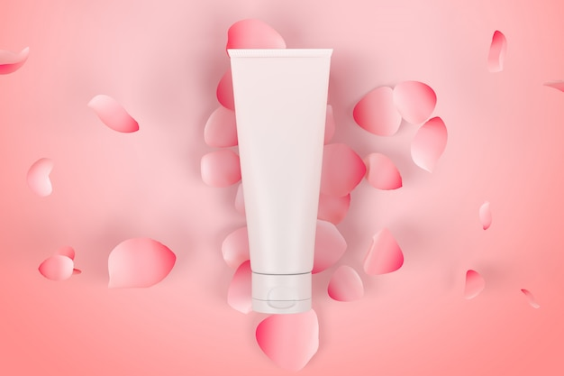 Kosmetyki opakowania makieta pielęgnacji skóry róża widok z góry