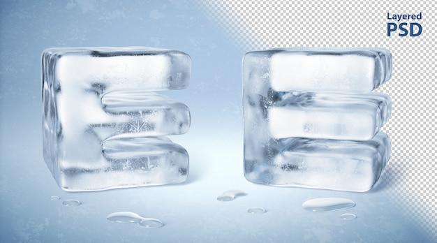 Kostka lodu 3d odpłacająca się litera e.