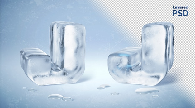 Kostka lodu 3d odpłacająca się litera j