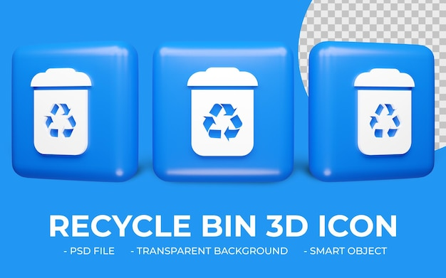 Kosz lub recykling zieloną ikonę renderowania 3d na białym tle