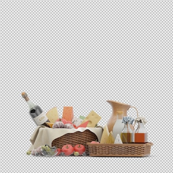 Kosz piknikowy z renderowania 3d żywności