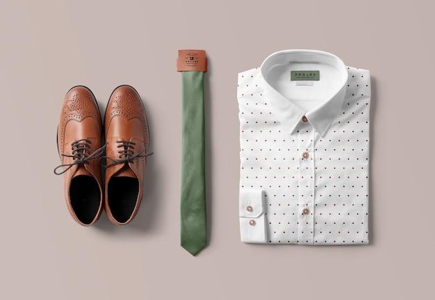 Koszula i krawat makieta na białym tle