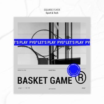 Koszyk gry w kwadratowe ulotki