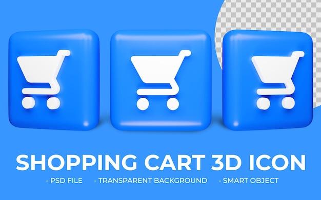 Koszyk lub zakupy ikona koszyka renderowania 3d na białym tle