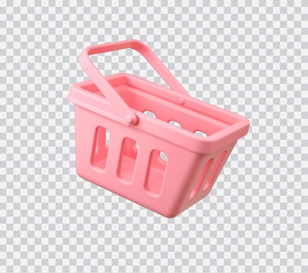Koszyk na zakupy ilustracja 3d na białym tle