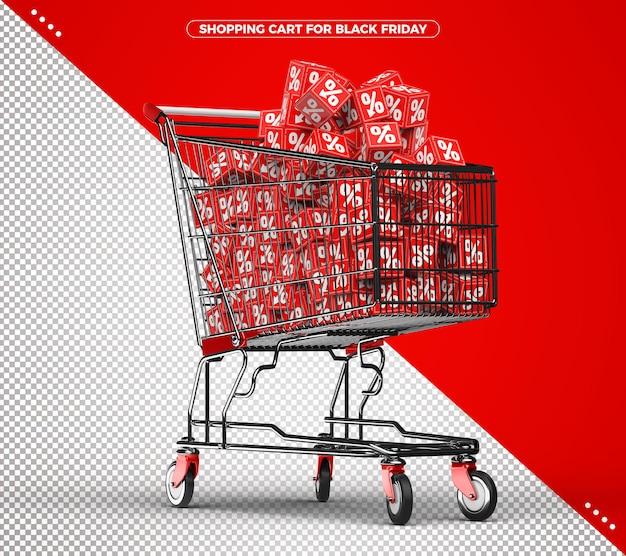 Koszyk z czerwonymi kostkami na czarny piątek
