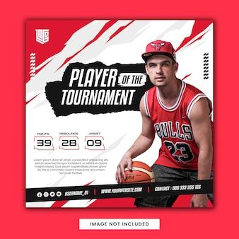 Koszykówka sportowiec czerwona ulotka szablon postu w mediach społecznościowych