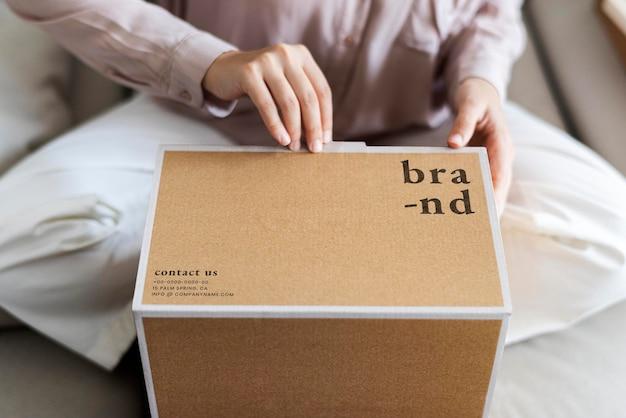 Kraft Box Makieta Psd W Salonie Premium Psd