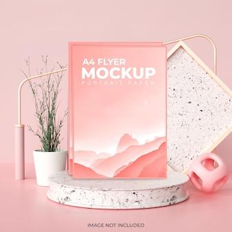 Kreatywna i minimalna makieta broszury ulotki w renderowaniu 3d