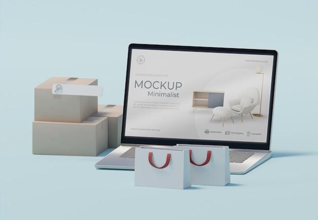 Kreatywna kompozycja biznesowa z makietą laptopa