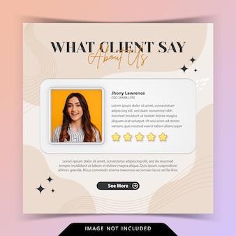 Kreatywna koncepcja dla zadowolonych opinii klientów referencje w mediach społecznościowych szablon postu na instagramie