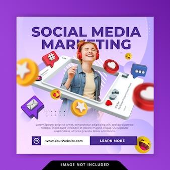 Kreatywna koncepcja marketingu cyfrowego szablon promocji na instagramie w mediach społecznościowych