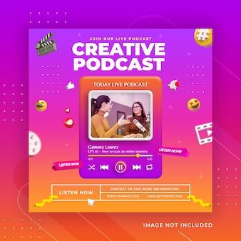 Kreatywna koncepcja promocji podcastu w mediach społecznościowych post szablon instagram premium psd