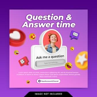 Kreatywna koncepcja pytanie i czas odpowiedzi dla szablonu posta na instagramie w mediach społecznościowych