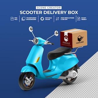 Kreatywna koncepcja renderowania 3d dostawy skutera z makietą pudełka box