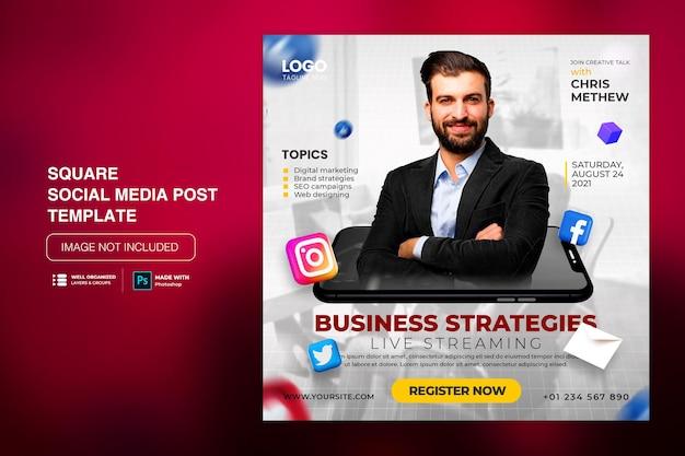 Kreatywna koncepcja social media post na instagramie dla szablonu promocji marketingu cyfrowego