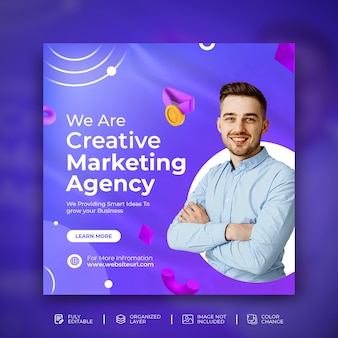Kreatywna promocja biznesowa ulotka mediów społecznościowych kwadratowy szablon banera z fioletowym tłem psd