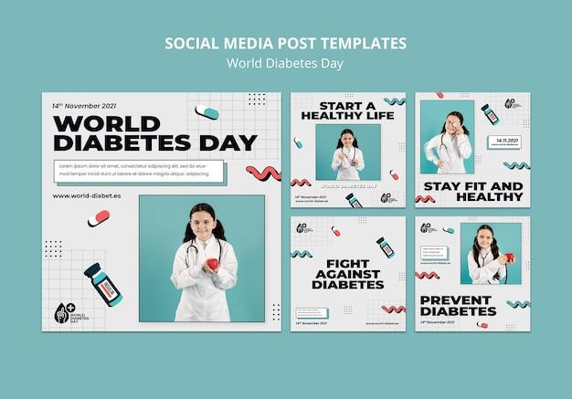 Kreatywne światowe szablony postów na dzień cukrzycy