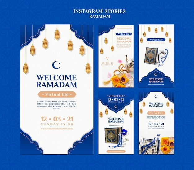 Kreatywne szablony opowiadań na instagramie ramadan