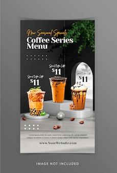 Kreatywne wyświetlanie menu napojów kawowych z renderowaniem 3d tła podium dla szablonu postu na instagram
