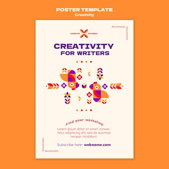 Kreatywność dla pisarzy szablon plakatu
