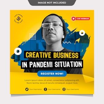 Kreatywny biznes w pandemi situation szablon postu w mediach społecznościowych