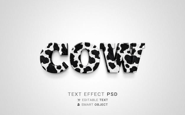 Kreatywny efekt tekstowy krowy