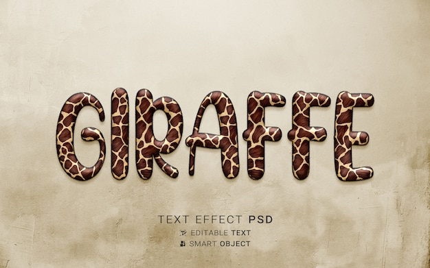Kreatywny efekt tekstowy żyrafy