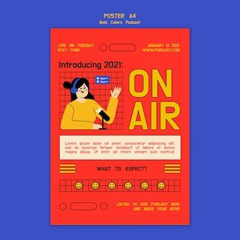 Kreatywny ilustrowany szablon ulotki podcast