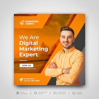 Kreatywny marketing w mediach społecznościowych promocja na instagramie szablon agencji marketingu cyfrowego premium psd