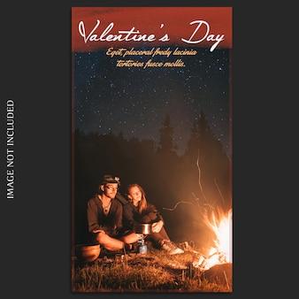 Kreatywny nowoczesny romantyczny walentynki instagram story template i photo mockup