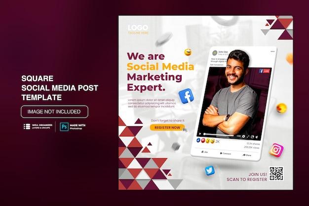 Kreatywny post na instagramie w mediach społecznościowych dla szablonu promocji marketingu cyfrowego