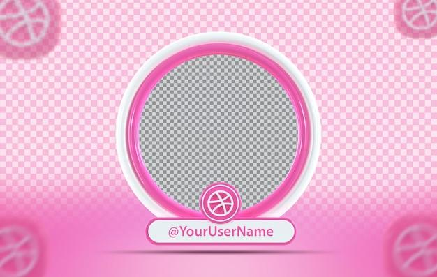 Kreatywny profil makiety koncepcji z ikoną dribbble