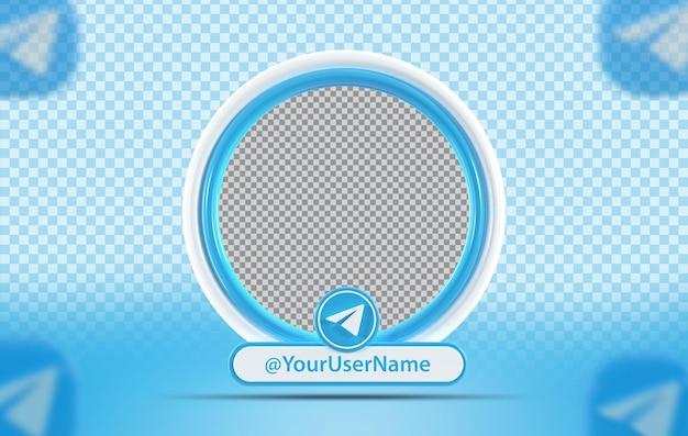 Kreatywny profil makiety koncepcji z ikoną telegram