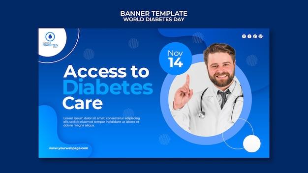Kreatywny światowy szablon baneru poziomego dnia cukrzycy