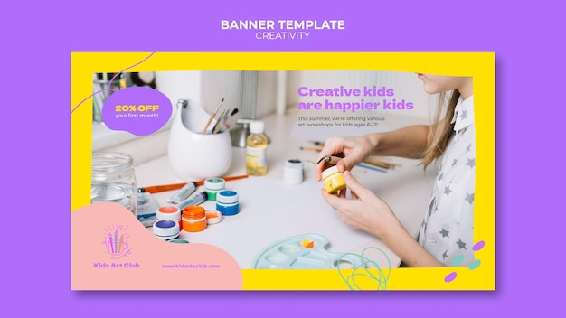 Kreatywny szablon banera dla dzieci