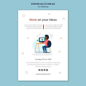 Kreatywny szablon do druku coworkingowego