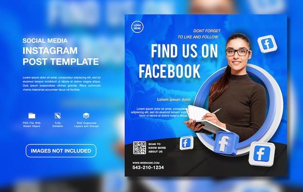 Kreatywny szablon postu na instagram promujący kanał na facebooku