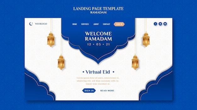 Kreatywny szablon strony docelowej ramadanu